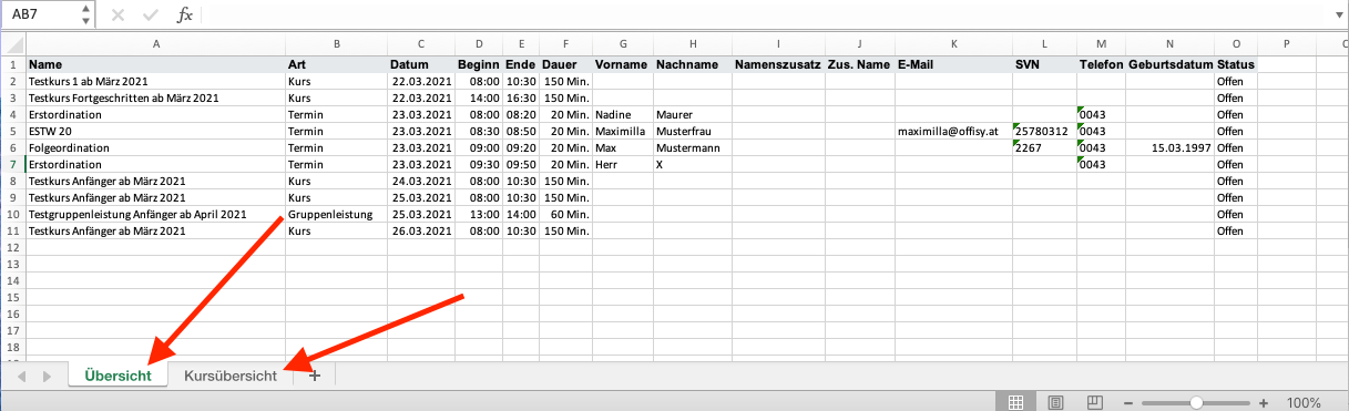 Excel Datei Terminübersicht und Kursübersicht