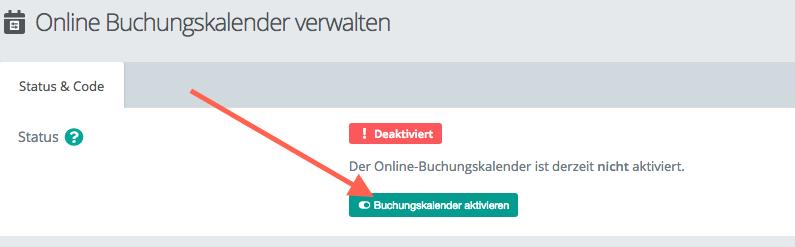Aktivierung des online Buchungskalender